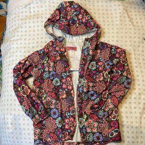 REI Childrens Brown Floral Rain Jacket 8